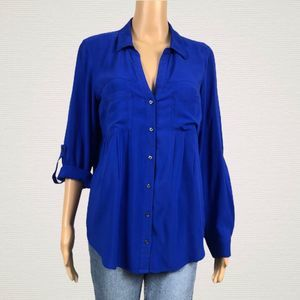 Anthropologie Maeve Islet Blue Button Up Shirt Top